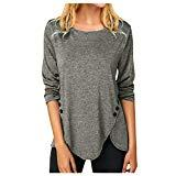 Offer for AMOUSTORE Women's Tunic Tops Casual Long Sleeve Fall Blouse Buttons Decor Shirts (XXL, Gray)