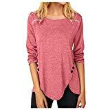Offer for AMOUSTORE Women's Tunic Tops Casual Long Sleeve Fall Blouse Buttons Decor Shirts (M, Pink)