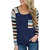 Offer for Women Fashion Long Sleeve Striped Patchwork Pullover Loose Tops Casual Blouse T-Shirt (L, Navy)