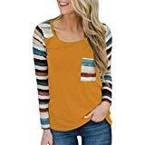 Offer for Women Fashion Long Sleeve Striped Patchwork Pullover Loose Tops Casual Blouse T-Shirt (L, Yellow)
