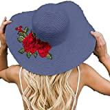 Offer for Jeanewpole1 Womens Floral Embroidery Floppy Beach Sun Hat Navy