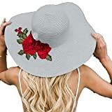 Offer for Jeanewpole1 Womens Floral Embroidery Floppy Beach Sun Hat Gray