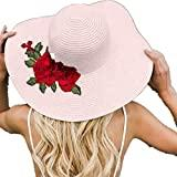 Offer for Jeanewpole1 Womens Floral Embroidery Floppy Beach Sun Hat Pink