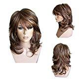 Offer for Ombre Wigs for White Women, VEZARON 18Inch Fake Hair Brown Wigs for Black Women Lace Front Wigs for Girls Party Cosplay Accessories (45cm, brown wigs)
