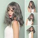 Offer for Hairshort Wigs for Women VEZARON Hair Wigs Bob Curly Wig Synthetic Short Grey Hairpiece with Bangs Natural Looking Heat Resistant Fiber Hair for Women