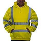 Offer for QIUUE Mens Reflective Hooded Sweatshirt Road Work High Visibility Pullover Long Sleeve Hooded Tops Blouse (Yellow-2, L)