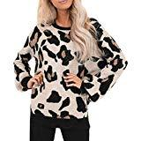 Offer for LOMONER Womens Leopard Sweater Tops Oversized O-Neck Animal Print Loose Fit Knitted Fall Pullover Jumper