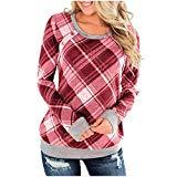 Offer for LOMONER Women Plaid Print Splice Sweatshirt Casual Long Sleeve Blouse Top T Shirt Button Tops