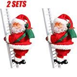 Offer for LUORATA 2SET Electric Santa in Ladder Christmas Ornaments 2020, Claus Climbing Ladder, Creative Climbing Up and Down for Xmas Party Home Decoration (65cm, Multicolored)