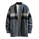 Offer for Cliramer Men's Autumn Winter Casual Patchwork Thicken Striped Print Turn-Down Collar Jacket Coat with Pocket Blue