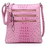 Offer for Functional Triple Zip Ostrich Medium Crossbody Bag for Women Lightweight Soft PU Leather Purses and Handbags Shoulder Messenger Bag ((Large) Pink)