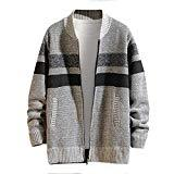 Offer for Cliramer Men's Autumn Winter Casual Patchwork Thicken Striped Print Turn-Down Collar Jacket Coat with Pocket Gray