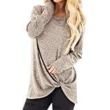 Offer for QIUUE Women Fashion Loose O-Neck Casual Sweatshirt T-Shirt Long Sleeve Knotting Design Blouse Tops Pullover Khaki