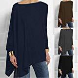 Offer for 2020 Women Loose Comfortable Tops Solid Long Sleeve Print Pullover Blouse Great for Daily Office School As Chritmas Gifts