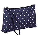 Offer for LANGMAN Makeup Bag, Cotton Linen Large Capacity Bag Multifunction Print Travel Cosmetic Bag Change Bag (Dark Blue)