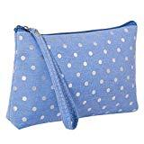 Offer for LANGMAN Makeup Bag, Cotton Linen Large Capacity Bag Multifunction Print Travel Cosmetic Bag Change Bag (Blue)