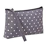 Offer for LANGMAN Makeup Bag, Cotton Linen Large Capacity Bag Multifunction Print Travel Cosmetic Bag Change Bag (Gray)