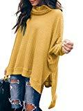 Offer for Women Turtlenck Batwing Sleeve High Low Hem Side Slit Waffle Knit Casual Loose Oversized Pullover Sweater Tunic Tops Yellow S