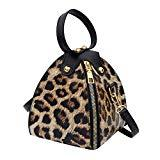 Offer for AMOUSTORE Simple Leopard Shoulder Crossbody Bag with Metal Chain Strap and Top Zipper (B)