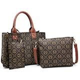 Offer for MKP Women Fashion Top Handle Handbags Purses Satchel Tote Signature Padlock Shouler Work Bags with Wallet Wristlet Set 2pcs (1-Coffee)
