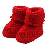 Offer for LOMONER Kids Toddler Baby Boys Girls Snow Boots,Winter Knitting Lace Crochet Shoes Buckle Handcraft Shoes (0-6 Months, Red)