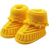 Offer for LOMONER Kids Toddler Baby Boys Girls Snow Boots,Winter Knitting Lace Crochet Shoes Buckle Handcraft Shoes (0-6 Months, Yellow)