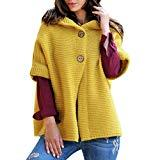 Offer for Pongfunsy Women Winter Coat Women Fashion Half Sleeve Solid Color Hooded Sweater Cardigans Outwear Coats