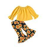 Offer for BOLUOYI Baby Girl 2 Pcs Set Outfit Long Sleeve T-Shirt Top + Sun Flower Print Flare Trouser Lovely Clothing Set for Girls