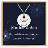 Offer for YokeDuck Personalized Mother Daughter Necklace with Birthstone, Custom Engraved Initial Disc Name Necklace Charm Pendant Jewelry Gift for Women