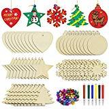 Offer for 50pcs Wooden Christmas Ornaments Unfinished Craft Natural Wood Slices for Kids DIY Holiday Festival Wedding Party Ornaments Decor- Hanging Ropes Included