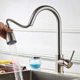 Black Kitchen Faucet with Pull Down Sprayer and Led Indicator Light to  Reflect Water Temperature, Single Handle Commercial High Arc One Hole Pull  Out ...