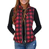 Offer for Womens Open Front Color Block Lapel Sleeveless Plaid Pockets Vest Cardigan - Xmas Hoodies Coat Loose Casual Warm Plush Pocket Plus Size Top Blouse Sweater Jacket Christmas (Red, L)