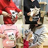 Offer for Women's Sweatshirt Animal Pouch Hood Tops Carry Cat Breathable Pullover Blouse