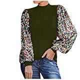Offer for MODAO Women's High-Neck Patchwork Sequined Long Sleeve Top Blouse Pullover Shirt