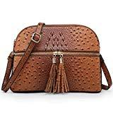 Offer for Functional Multi Zipper Pockets Lightweight Medium Crossbody Bags Purses for Women Travel Shoulder Messenger Bag With Tassel (Ostrich-Brown)