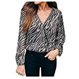 Offer for QIUUE 2020 Women's Zebra Printing Blouse Cross V-Neck Long Sleeve Fashion T-Shirt Tops for All-Season Black