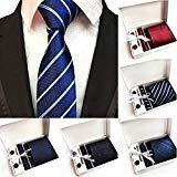 Offer for KANGMOON Men Tie Set (incl. Handkerchief + Cufflinks + tie pin) Ties Suit for Business, Wedding, Valentine's Day, New Year