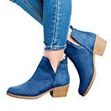 Offer for Womens Ankle Boots Cut Out Perforated Low Stacked Block Heel Slip On Faux Suede Booties Closed Toe Walking Shoes Navy