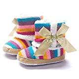 Offer for Baby Girl Rainbow Stripe Coral Fleece Snow Boots Shoes with Bowknot (12, Multicolor)