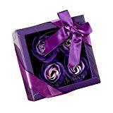 Offer for Soap Flower Bouquet - Valentine's Day Mother's Day Wedding Creative Gifts Practical Gifts - Luxury Handmade Soap Flower Bouquet Roses Carnations Gift Box Wedding Home (Purple, A)