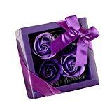 Offer for Soap Flower Bouquet - Valentine's Day Mother's Day Wedding Creative Gifts Practical Gifts - Luxury Handmade Soap Flower Bouquet Roses Carnations Gift Box Wedding Home (Purple, B)