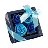 Offer for Soap Flower Bouquet - Valentine's Day Mother's Day Wedding Creative Gifts Practical Gifts - Luxury Handmade Soap Flower Bouquet Roses Carnations Gift Box Wedding Home (Bule, B)