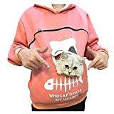 Offer for Cliramer Women's Sweatshirt Animal Pouch Hood Tops Carry Cat Breathable Pullover Blouse (Pink, 2XL)