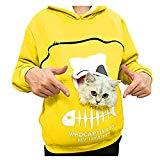 Offer for Cliramer Women's Sweatshirt Animal Pouch Hood Tops Carry Cat Breathable Pullover Blouse (Yellow, M)