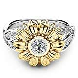 Offer for Valentine's Day Women Sunflower Alloy Ring Jewelry Cocktail Party Birthday Gift Ring