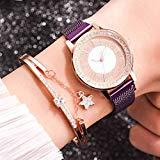 Offer for Luxury Ladies Bracelet Watch,Rhinestone Star Business Quartz Watch Female with Stainless Steel Mesh Business Watch 04