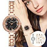 Offer for Molisell Women's Bangle Watch and 4 Bracelet Set,Rhinestone Wrist Quartz Stainless Steel Dress Quartz Watch