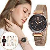 Offer for Molisell Women's Bangle Watch and 4 Bracelet Set,Fashion Simple Watches with Stainless Steel Wristwatches Quartz Women Watches