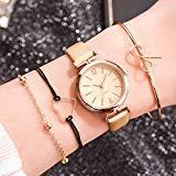 Offer for Molisell Women's Bangle Watch and 3 Bracelet Set,Analog Quartz Watch with Leather Dress,Ladies Watch Simple and Elegant Gift