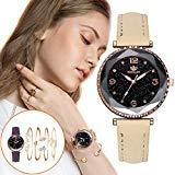Offer for Molisell Women's Bangle Watch and 4 Bracelet Set,Women Fashion Round Dial Quartz PU Band Wrist Watch Gift Wrist Watches